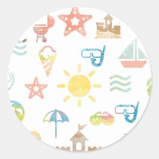 Etiqueta redonda do verão - etiqueta lustrosa