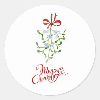 Etiqueta redonda do White Christmas vermelho do