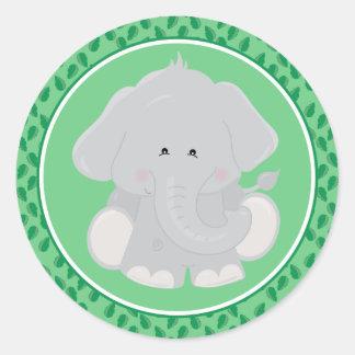 Etiqueta redonda dos animais do safari do bebê do