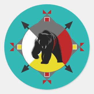 Etiqueta redonda dos sentidos Cherokee do urso