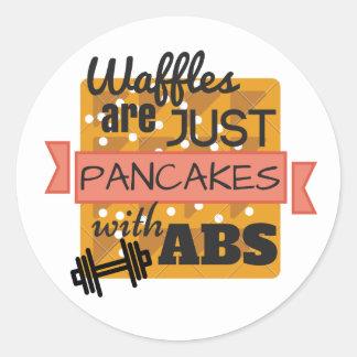 Etiqueta redonda lustrosa - Waffles do exercício