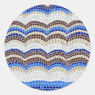 Etiqueta redonda Matte pequena do mosaico azul