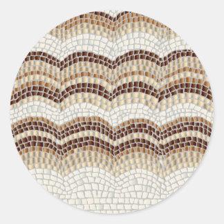 Etiqueta redonda Matte pequena do mosaico bege