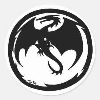 Etiqueta redonda pequena do dragão preto