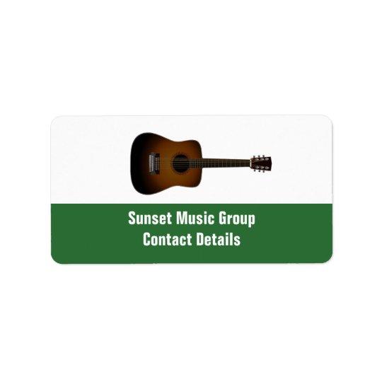 Etiqueta relativa à promoção de Avery do músico e Etiqueta De Endereço