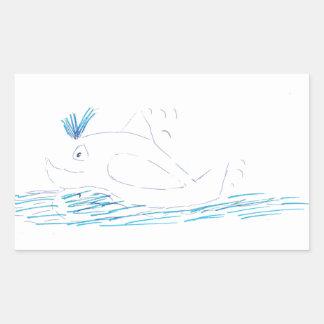 Etiqueta retangular da baleia de Wally