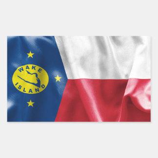 Etiqueta retangular da bandeira da Ilha Wake