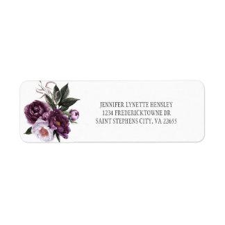 Etiqueta Retorno cor-de-rosa roxo Address| de Peonues da