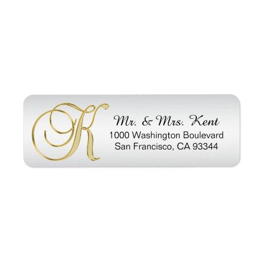 """Etiqueta Retorno de prata do envelope da letra """"K"""" do"""