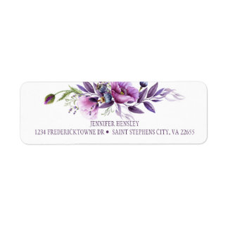 Etiqueta Retorno roxo violeta Address| dos Wildflowers da