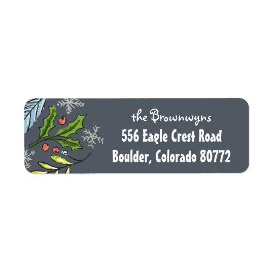 Etiqueta Retorno Spruce azul dos ramo do Feliz Natal