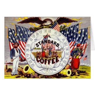 Etiqueta retro 1862 do café cartão