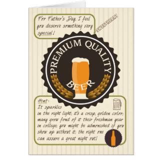 Etiqueta retro da cerveja do dia dos pais cartão comemorativo
