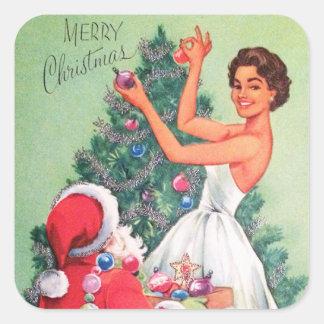 Etiqueta retro da senhora do papai noel do Natal