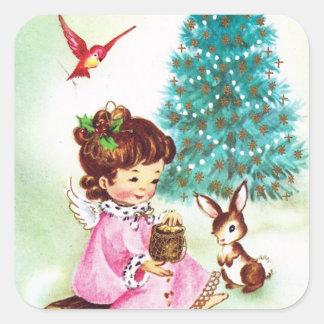 Etiqueta retro do anjo do feriado do Natal do