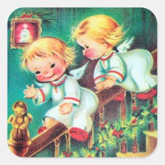 Etiqueta retro do feriado dos anjos do Natal do