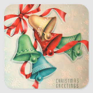 Etiqueta retro dos sinos do feriado do Natal do