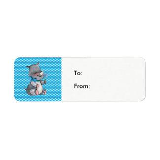 Etiqueta Rinoceronte do bebê em bolinhas azuis