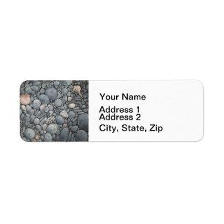 Etiqueta Rochas dos seixos da praia das pedras