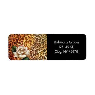 Etiqueta Rosa branco do leopardo do impressão do animal