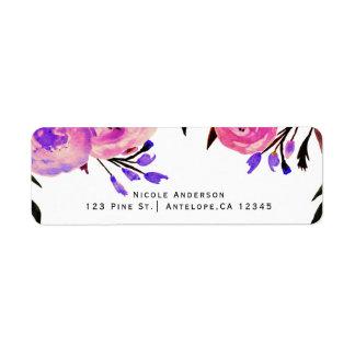 Etiqueta Rosa & convite floral moderno brilhante roxo