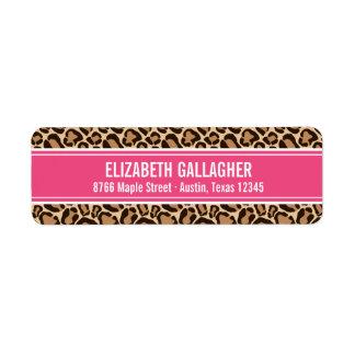 Etiqueta Rosa e impressão do leopardo