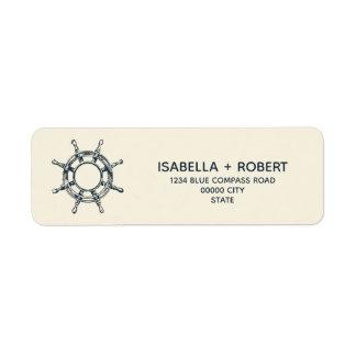 Etiqueta Rosa náutico da roda | do navio azul dos ventos