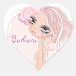 Etiqueta, rosa para rapariga adesivo coração