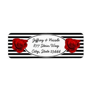 Etiqueta Rosa vermelha em listras pretas & brancas que