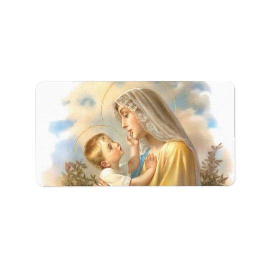 Etiqueta Rosas abençoados de Jesus do bebê da mãe