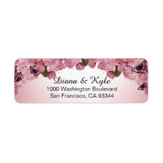 Etiqueta Rosas cor-de-rosa da borboleta que Wedding o