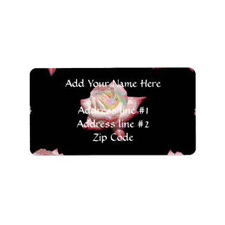 Etiqueta Rosas esmaltados rosa no preto