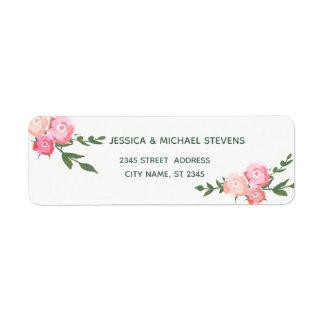 Etiqueta Rosas românticos da aguarela elegante de Boho que