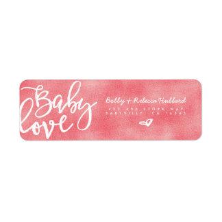 Etiqueta Roteiro cor-de-rosa moderno do amor do bebé das