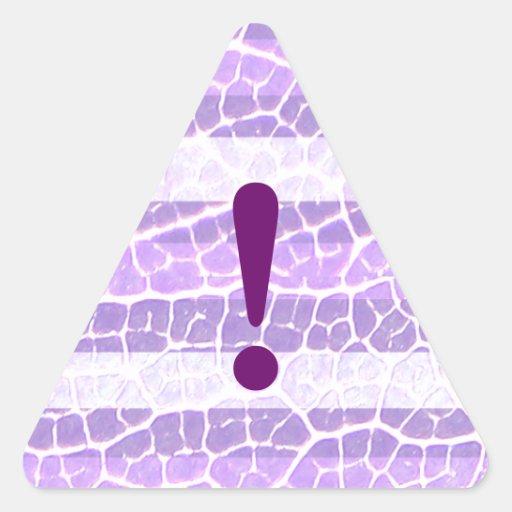 etiqueta roxa da listra adesivo em forma de triângulo