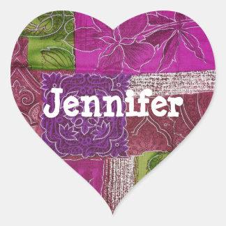 Etiqueta roxa dada forma coração personalizada da