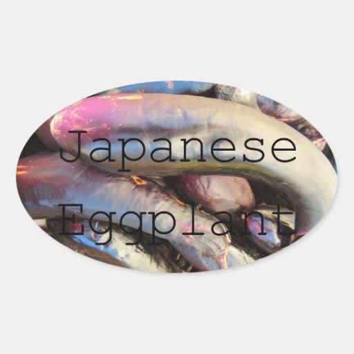 Etiqueta roxa japonesa do frasco da beringela adesivos em formato oval