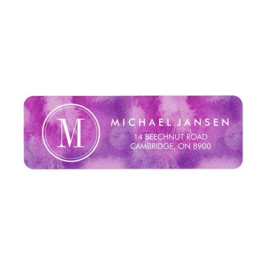 Etiqueta roxa minimalista moderna da aguarela do etiqueta endereço de retorno