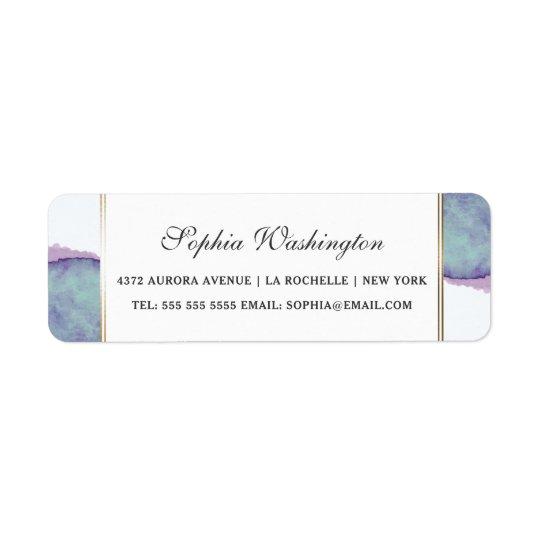 Etiqueta Roxo da aguarela & endereço do casamento da beira