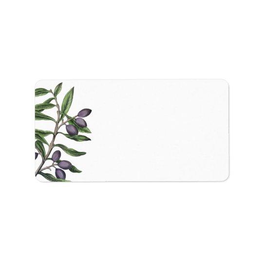 Etiqueta Roxo verde do ramo de oliveira |