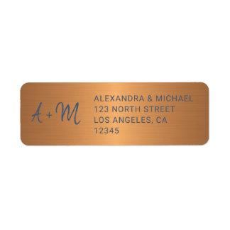 Etiqueta Rsvp de cobre Monogrammed do casamento do roteiro