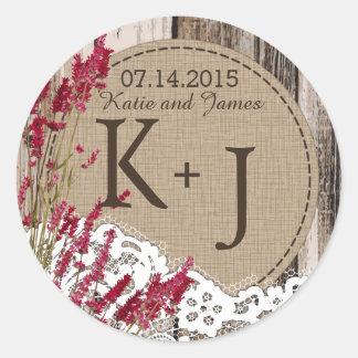 Etiqueta rústica do casamento do monograma do laço