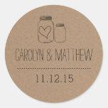 Etiqueta rústica do favor do casamento do coração adesivos em formato redondos
