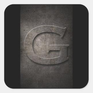 Etiqueta rústica do quadrado do monograma de G do