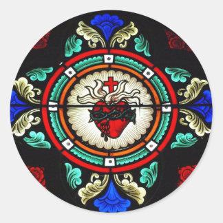 Etiqueta sagrado do vitral do coração adesivos em formato redondos