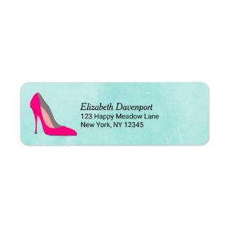 Etiqueta Salto de estilete cor-de-rosa