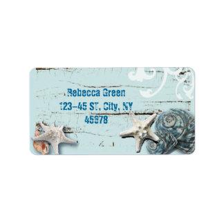 Etiqueta Seashells azuis da estrela do mar do aqua de