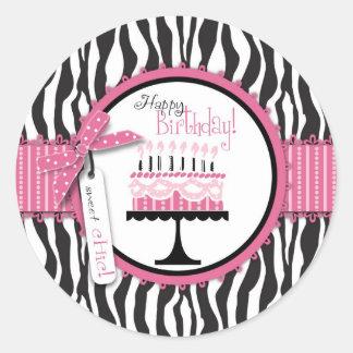 Etiqueta selvagem B de HP do bolo de aniversário Adesivo Redondo