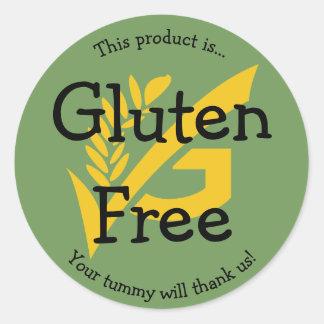 Etiqueta sem glúten da etiqueta da comida nenhum adesivo redondo
