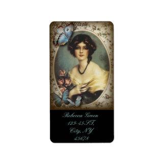Etiqueta Senhora idosa de Paris da forma da borboleta